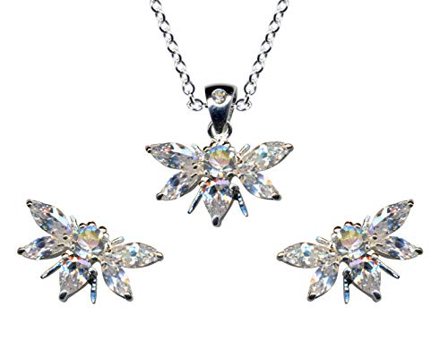 Jewellery Set Bee Bow Tie Genuine 925 Sterling Silver Earrings + Chain + Pendant Necklace Pendant Silver Chain Silver Pendant Stud Earrings Zirconia Crystals White Clear