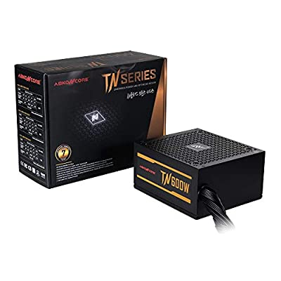 ABKONCORE TN600W Bronze PC Power Supply 600W, 80+ Bronze Certified, 12V single rail, 135mm Quiet Cooling Fan, ECO Friendly, Active PFC, 7 Year Assurance PSU for gaming and other applications