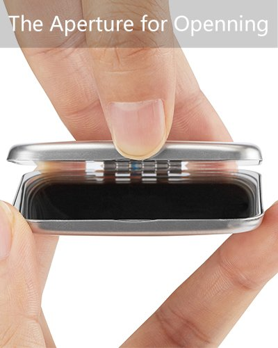"""Small Pocket Mirror, Unbreakable All Stainless Steel Rectangular Folding, 2.2"""" Square, Polished Design Finish"""