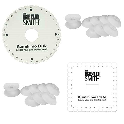Kumihimo Kit, 6 Inch Round, 6 Inch Square Disk Plus 16 Bob-eez Bobbins AND Kumihimo Instructions + project directions! Starter Set. KD605, KD604, Bob1