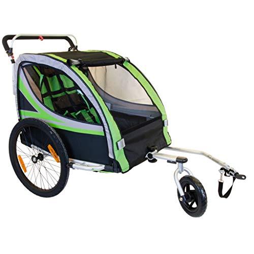 2 in 1 20 Zoll Luft Aufblasbare Gummirad Aluminiumlegierung Rahmen Doppel Kind Fahrradanhänger mit Regen Abdeckung Kinder Jogger Kinderwagen