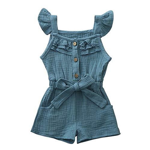 Janly Clearance Sale Mameluco para niños de 0 a 4 años, para bebés y niñas de 2 a 3 años, regalo de Pascua de San Patricio (azul)