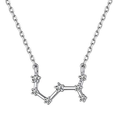 ChicSilver 12 Constelaciones Collar Mujeres Signo Horóscopo Plata de Ley 925 con Piedras Zirconia Cúbica Joyerías de Astrología Zodiáco para Cuello Regalo Cumpleaños