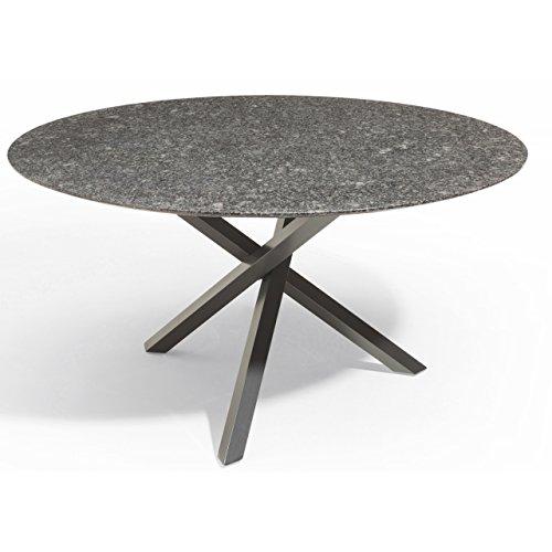 Studio 20 Gartentisch Gigi Granitplatte rund ø 140 cm Outdoortisch Granittisch Tischplatte Silver Waves satiniert