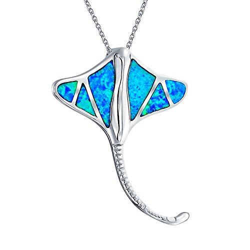 Náuticas Grande Ocean Azul Creado Opal Inlay Stingray Collar Colgante De Plata Esterlina 925 Mujer