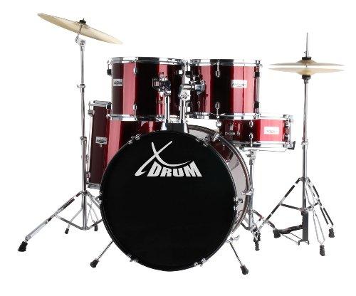 XDrum Semi (Schlagzeug Komplettset und Drumschool inkl. DVD) rot