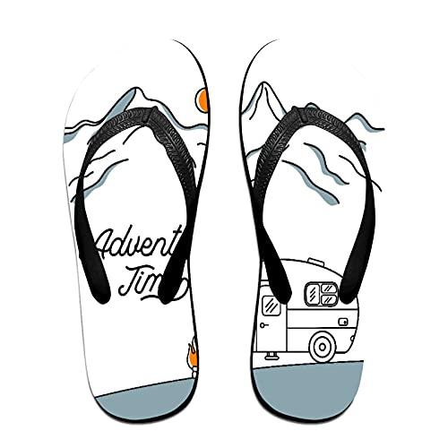 Sandales unisexes minces à bascule,Route avec camping-car rétro sur les mo, Tapis de yoga Flip Flops plage confortable bracelet en cuir avec légère en EVA Sole Taille M