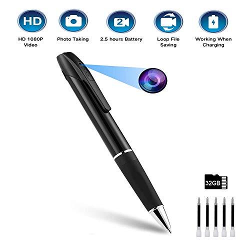 Versteckte Kamera - Spy Pen Kamera mit 2,5 Stunden Akkulaufzeit, HD 1080P Portable Camera Pen mit 32 GB Karte und verdecktem Objektiv