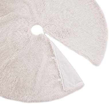 Christmas Tree Skirt - Xmas Tree Skirts White Snow Luxury Faux Fur - 30 inch Round for Under Tree Decorations ( 30 inches)