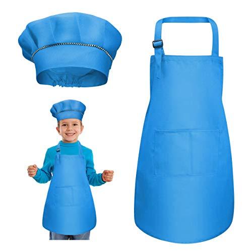 kissral Delantal para Niños + Gorro De Cocinero, Delantal de Cocina Infantil Delantales Infantiles Delantal De Chef De Cocina para Niños Pintura 4-12 Años L (Blanco)