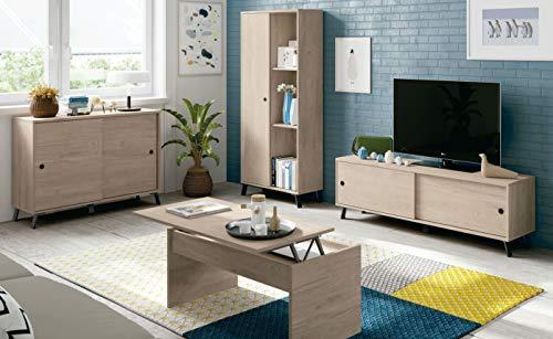 Miroytengo Muebles salón Completo Manaslu Roble y Negro nórdico Industrial (Mueble TV+Aparador+Librería+Mesa Centro)