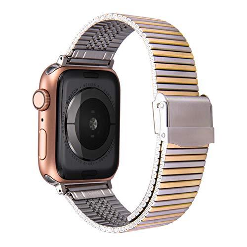 Correa de acero inoxidable para Apple Watch, pulsera de metal para iWatch Series SE / 6/5/4/3/2-Silver Gold, 42mm