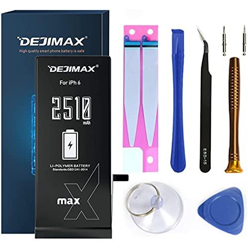 DEJIMAX 2510mAh Batteria più alto 38% per iPhone 6 (A1549/A1586/A1589), Alta Capacità 2510mAh Batteria Manuale Kit Set di Attrezzi