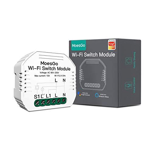 MoesGo Wlan RF433 Mini Smart Alexa Lichtschalter 1 Gang Relais Modul, WiFi Funk Schalter LED Unterputz Kompatibel mit Smart Life Tuya App Fernbedienung, Amazon Alexa und Google Home