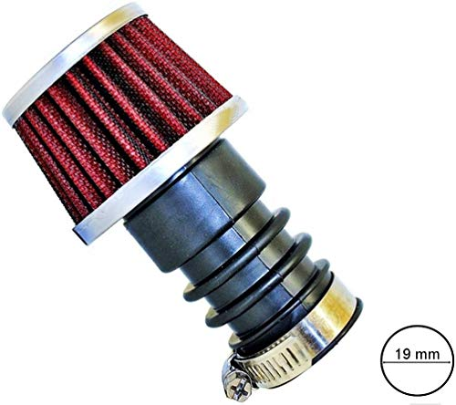 BISOMO 19mm Tuning Power Sport luchtfilter voor Puch Maxi met chroom deksel en staalweefsel M-7955