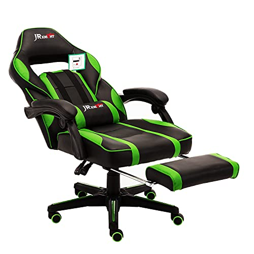 JR Knight Ergonomic Gaming Chair with Footrest, Home Office Computer Executive Swivel Chair with Lumbar Support, PU Leather Desk Chair with Recliner (Black&Green)