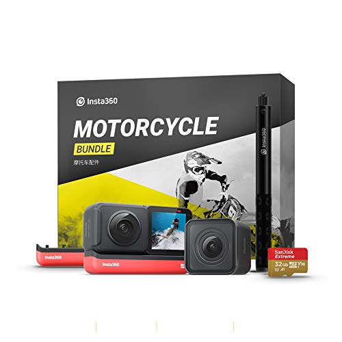 Insta360 ONE R Twin Edition Motorcycle Kit – 4K Action Camera & 5.7K 360 Camera with Interchangeable Lenses, Stabilization, IPX8 Waterproof, Touch Screen, AI Editing