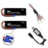 7.4V 2700mAh li-po Battery for Hubsan H501S H501A H501C RC Drone H501S-14 Battery H501S Battery 2 Pack with USB Charging Cable
