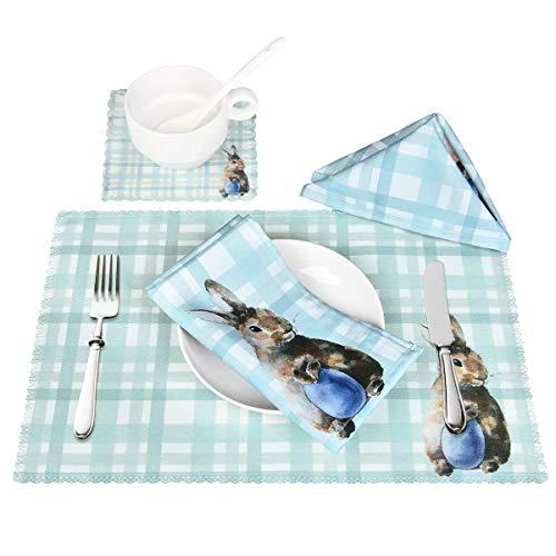 Sunm Boutique 4 Set Hitzebeständige Ostern Tischsets mit Untersetzer Serviette Platzdeckchen, rutschfest Waschbar Baumwolle Polyster, Blau