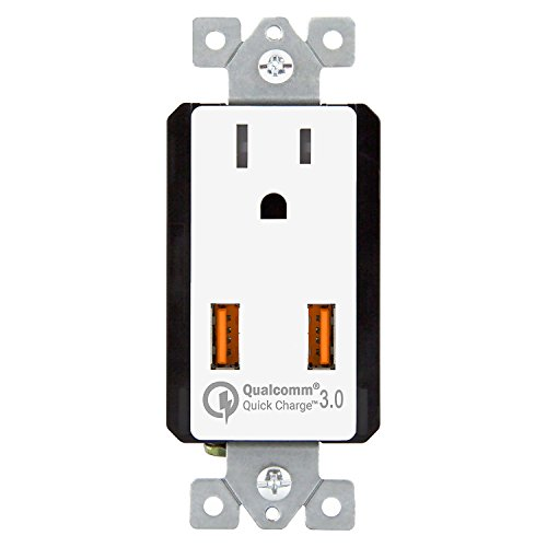 TOPGREENER 36W Quick Charge 3.0 USB Wall Outlet, Compatible with Samsung S9/S8/S7 Note 9/8/7, iPhone XS/MAX/XR/X/8/7, LG Nexus, HTC 10 & Other smarthphones, UL Listed, TU1152QC3, White