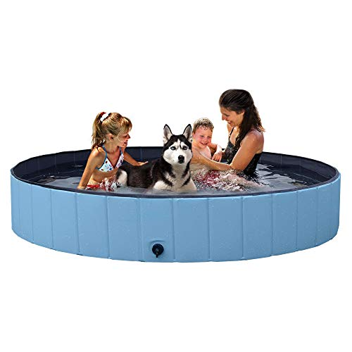 YAHEETECH Blue Foldable Hard Plastic Kiddie Baby Dog Pet Bath Swimming Pool...
