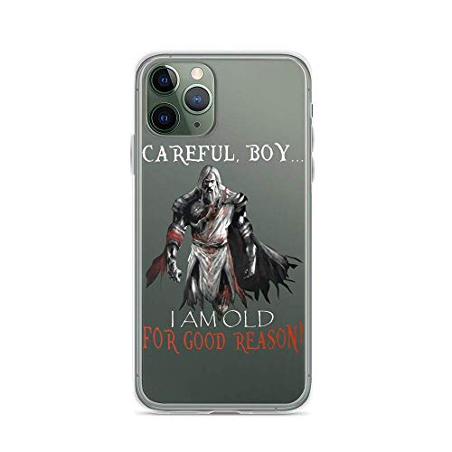 Compatibile con iPhone 11 12 Pro Max XR 6/7/8 SE 2020 Case Careful Boy I Am Old for Good Reason White Knight God Viking Warriors Pure Clear Custodie per Telefono TPU Anti Scratches Protective Cover