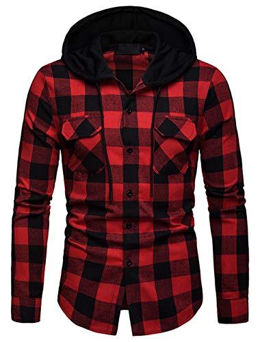 WHATLEES Herren Kariert Kapuzenpullover Flanellhemd mit Kapuze Karohemd Langarm Hemden Freizeithemd BA0248-Red-L