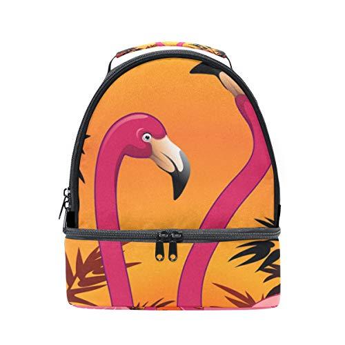 Dubbele schoudertas Sunset Tropical Lake Flamingo Cooler verstelbare riem voor picknick