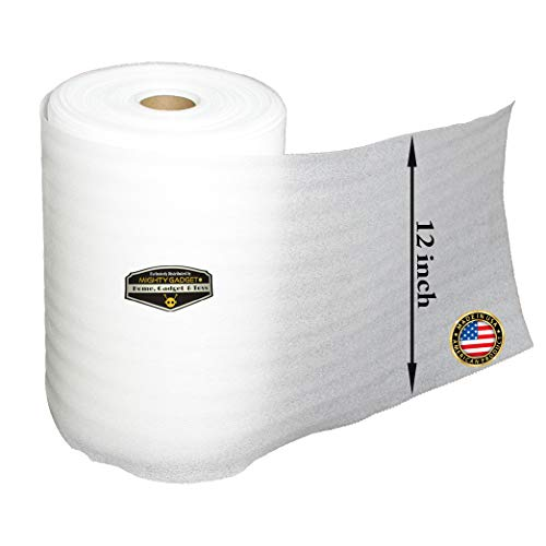 "Mighty Gadget (R) 12"" Wide x 300"" Length (Inch) Foam Wrap Rolls for Moving Packing Foam Roll Packing Materials. Packing Paper Alternative Shipping Supplies"