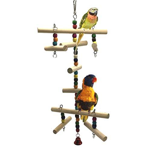 LILITRADE Escalera de Madera Colorida para Loros, pájaros, periquitos, cacatúas, Conos de cacatúa, pinche de pájaro Africano, Gris, Jaula de Amazon