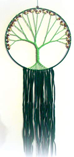 TREE of LIFE Dreamcatcher wall hanging, Macrame, 30' long, beaded,Boho, Tribal, Green