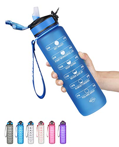 SLUXKE Botella de agua de Tritan, 1000 ml, antigoteo, sin BPA, con marcador de motivación, apertura con 1 clic para niños, escuela, bicicleta, gimnasio, yoga, camping