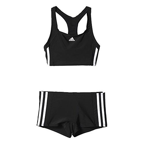 adidas Mädchen Infinitex Essence Core 3-Stripes Bikini, Black/White, 140