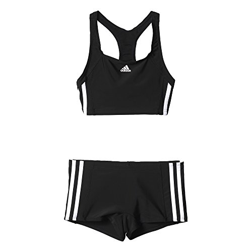 adidas Mädchen Infinitex Essence Core 3-Stripes Bikini, Black/White, 116