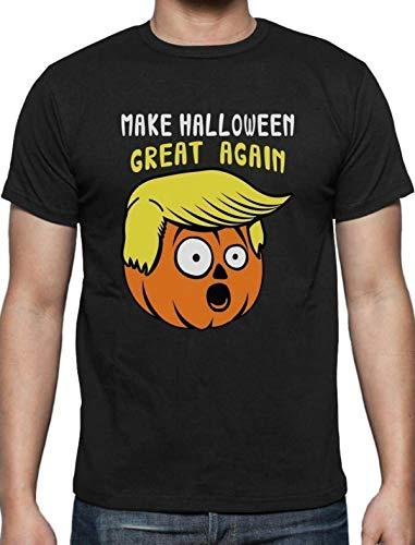 Jack O Lantaarn Maak Halloween Geweldig Opnieuw Pompoen T-Shirt Grappig Nieuwe Heren Mode Crew Neck Korte Mouwen Katoenen Tops Kleding, Zwart