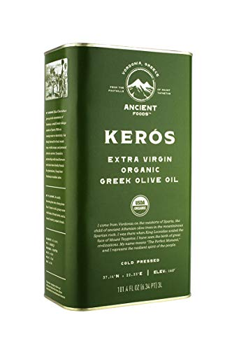 Ancient Foods – Organic Greek Extra Virgin Olive Oil - Fresh Harvest - Cold Pressed – 1000 Year Old Trees – High Phenolic - Chefs Favorite - Mountain Keros - 101oz (3L)