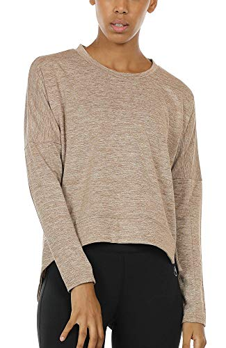 icyzone Workout Sweatshirts for Women - Women's Pullover Running Tops Long Sleeve Athletic Shirt (Beige, M)