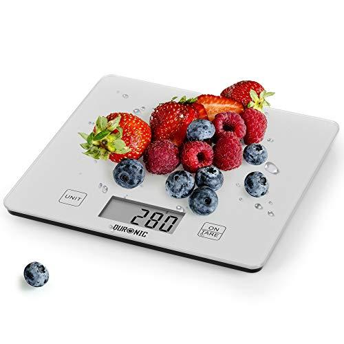 Duronic KS1080 Báscula de cocina digital 20x18.5cm – Pantalla LDC con lectura de dígitos fácil – Peso máximo 10kg – Función tara – Mide en gramos, libras, onzas fluidas y mililítros – Color gris