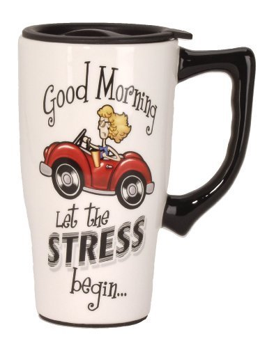 Spoontiques Let The Stress Begin Travel Mug, White by Spoontiques
