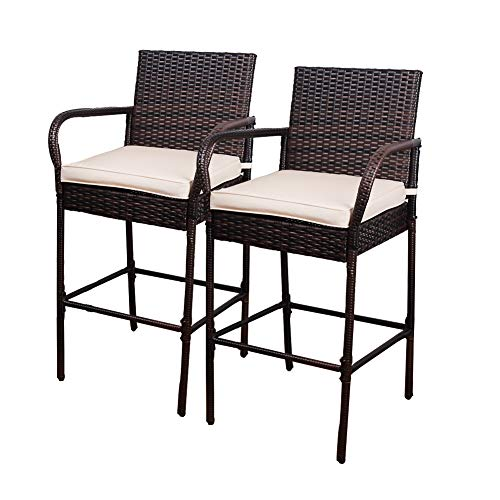 Sundale Outdoor 2 Pcs All Weather Patio Furniture Set Brown Wicker Barstool with Beige Cushions, Back Support and Armrest, Beige