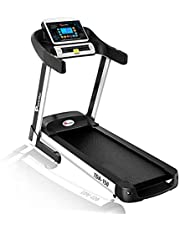 PowerMax Fitness TDA-150 (5.0HP Peak) Motorized Treadmill With Free Virtual Assistance, Automatic Lubrication, Heart Rate Sensor, Home Use & Automatic Incline, black, black