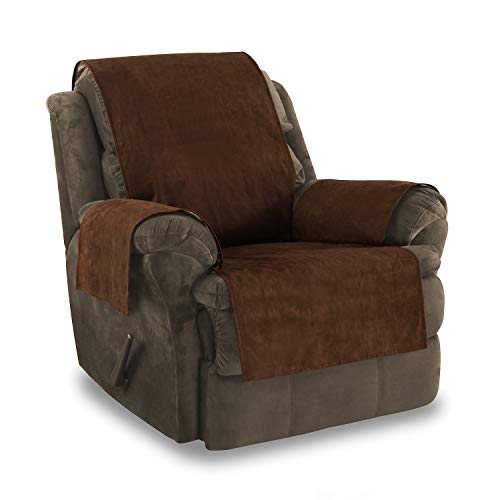 Link Shades Anti-Slip Recliner Armchair Protector | Water Resistant Microsuede Slipcover | Stay-Put Straps | Cover Protects from Dogs & Other Pets (Recliner, up to 23' seat Size, Chocolate)