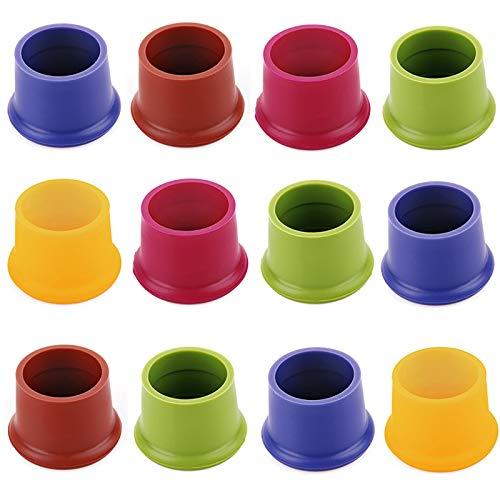 Piokoy 12 Tapones de Silicona para Vino Tapones Reutilizables de Colores Variados Tapones para Botellas de Bebidas Tapones Selladores de Cerveza Tapas de Botellas Tapas de Cocina Tapas