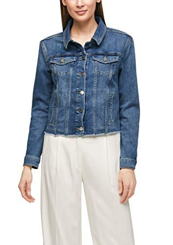 s.Oliver BLACK LABEL Damen Jeansjacke mit Fransensaum Premium Blue 40
