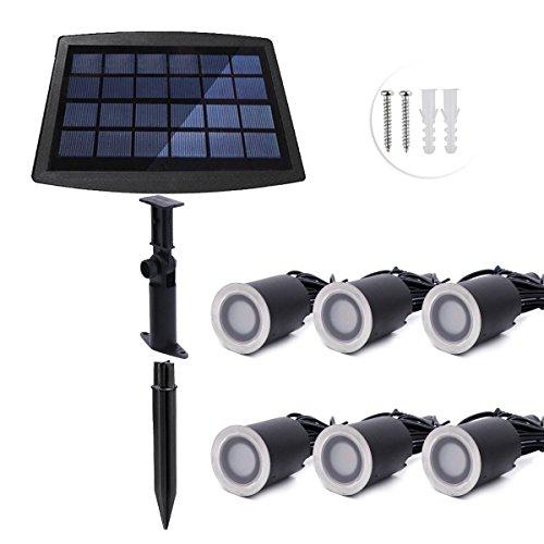 ONLT Luz Foco Solar Empotrable al Suelo – 6 PCS LED IP67 4000K Luz Foco empotrable al Aire Libre,Luz de Proyecto Solar para Paisaje, Entrada, Patio, Garaje, Muro, Camino.