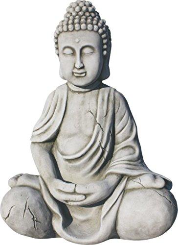 AnaParra Figura Buda Seguridad para el jardín Decorativa 43cm. Hormigón-Piedra Natural Musgo.