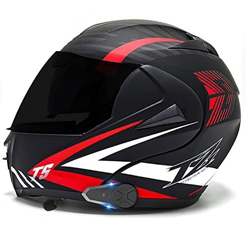 Casco de Moto Modular Bluetooth Integrado Hombres Mujeres,Casco Moto Integral con un Micrófono Incorporado Anti Niebla Visera Doble ECE/Dot Homologado (Color:C,Size:L=59-60CM)