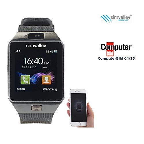 Simvalley Mobile Uhr mit SIM Karte: Handy-Uhr & Smartwatch PW-430.mp mit Bluetooth 3.0 und Fotokamera (Handyuhren)