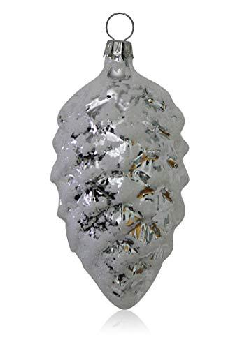 Tannenzapfen silber mit Dekor 4 Stück Christbaumschmuck Weihnachtsbaumschmuck mundgeblasen handdekoriert Lauschaer Glas das Original