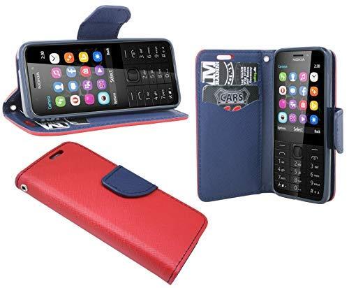 cofi1453® Buch Tasche Fancy kompatibel mit Nokia 230 Handy Hülle Etui Brieftasche Schutzhülle mit Standfunktion, Kartenfach Rot-Blau